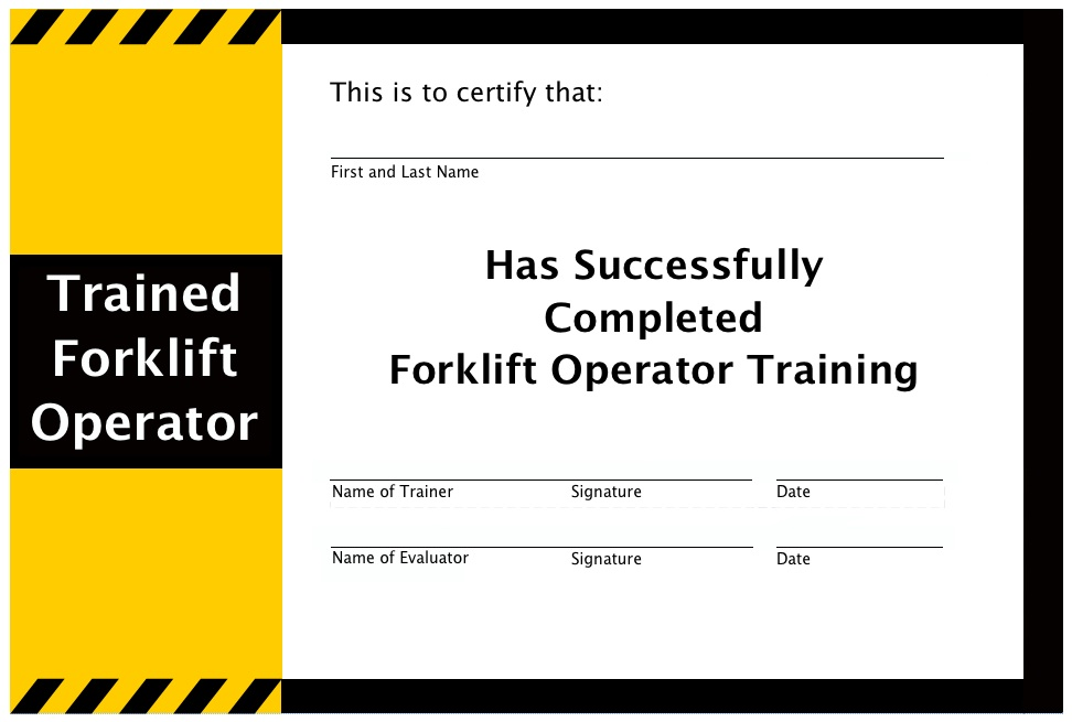 Forklift Operator Certification Card Template